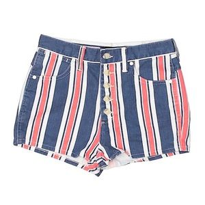 Urban Outfitters BDG Striped Jean Shorts Blue Red